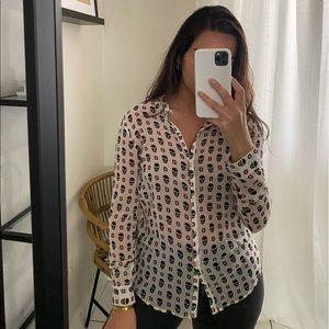 Zara skull button down blouse